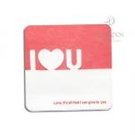 """Мини открытка с вырубкой """"I love you"""""""