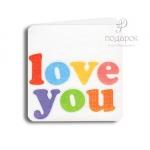 """Мини открытка """"Love you"""""""